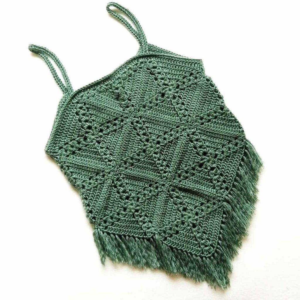 Pine cross summer top free crochet pattern back
