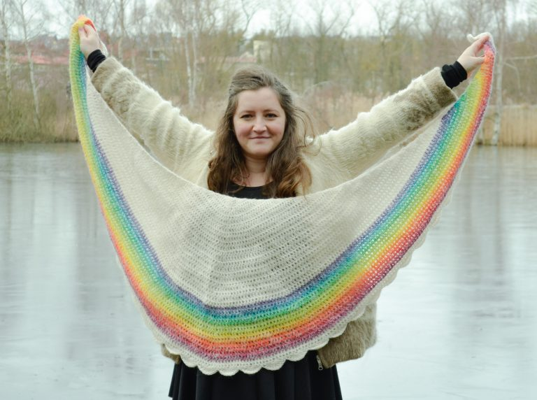Rainbow shawl crochet pattern - showing off the full size of the crescent shawl