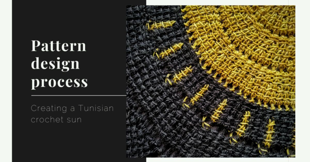 Pattern design process Tunisian Crochet sun cover photo