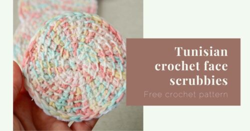 Tunisian crochet face scrubbies free crochet pattern cover