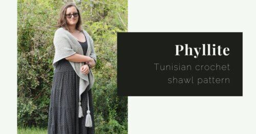phyllite tunisian crochet shawl pattern cover
