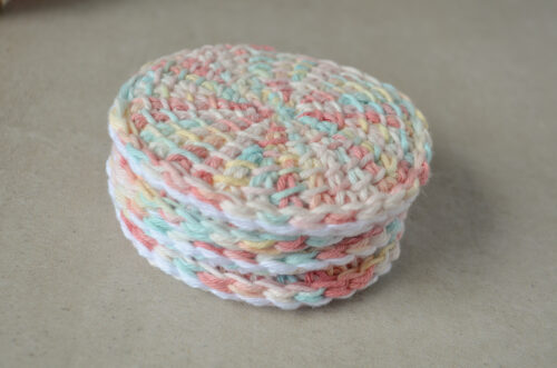 A stack of Tunisian crochet face scrubbies