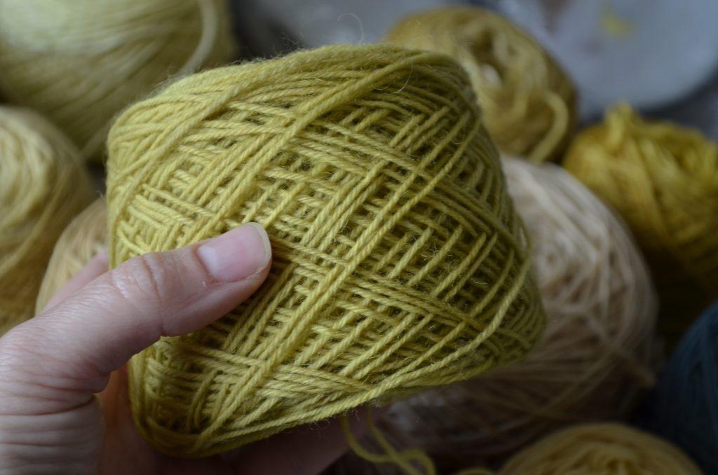 Hand-dyed sock yarn with Hypericum perforatum