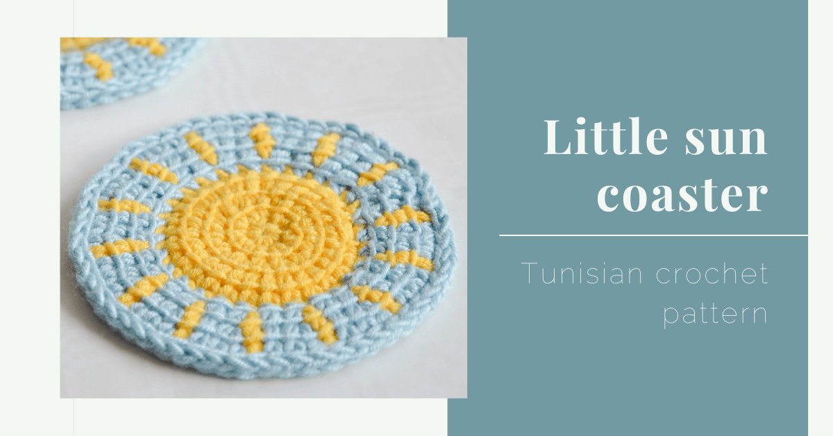little sun coaster Tunisian crochet pattern yarnandy