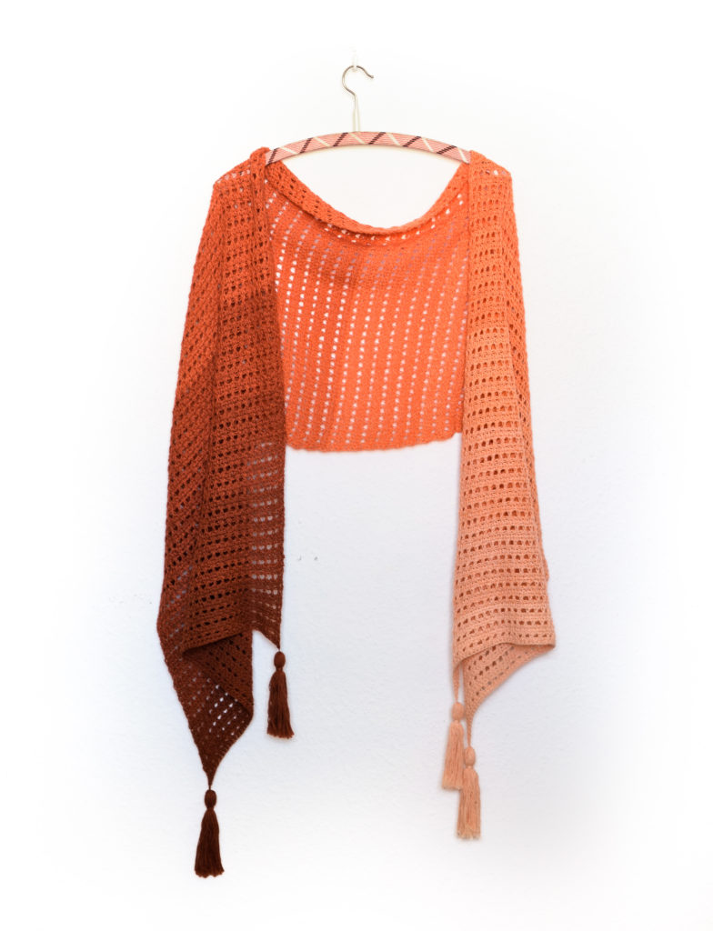 Imperial topaz easy tunisian crochet lace pattern - sample displayed on a hanger
