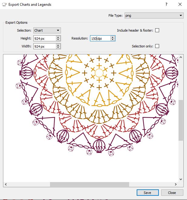Crochet Charts export dialog example
