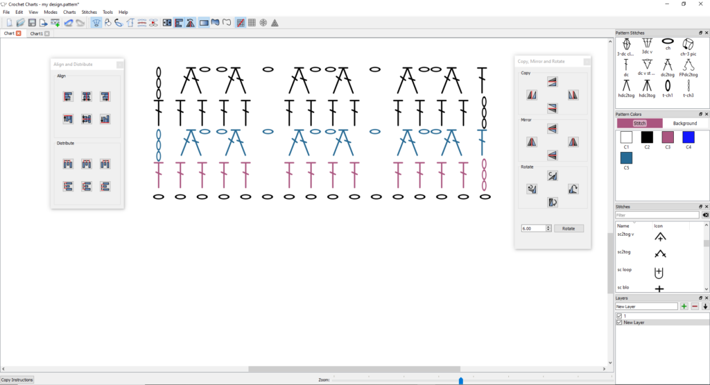 Crochet charts example of a random chart with flip, rotate, align and distribute panes open