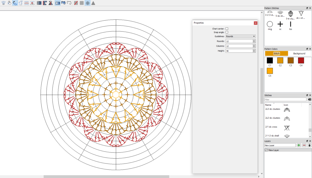 Crochet Charts changing properties of the round or radial grid