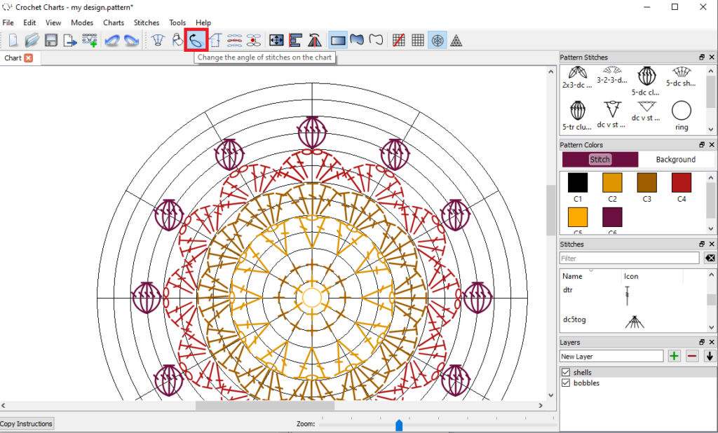 Crochet Charts placing stitches on the round grid