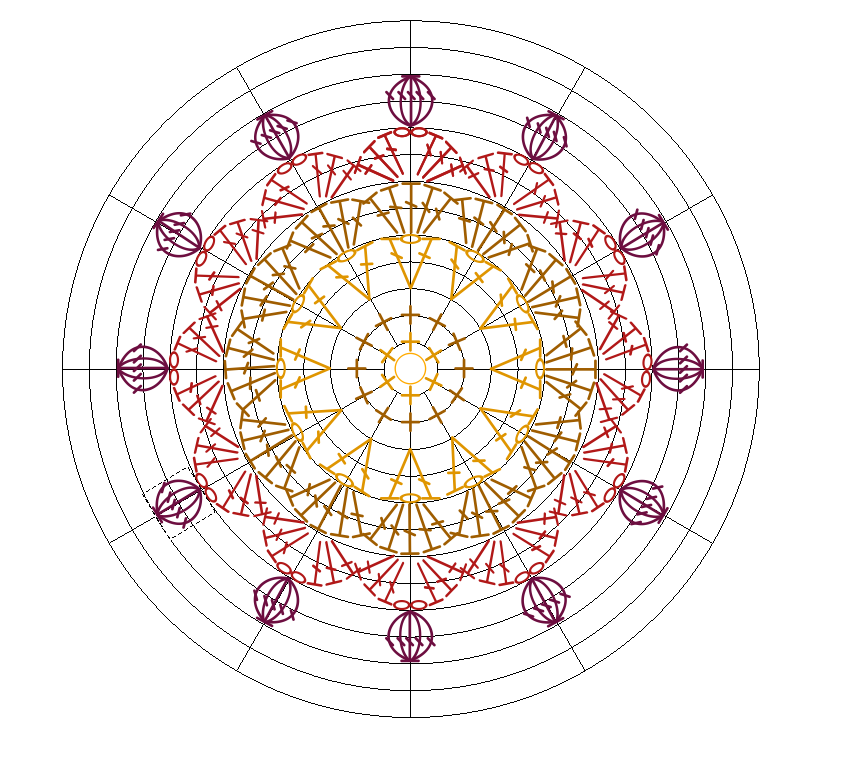 Crochet Charts straightening stitches on the round grid