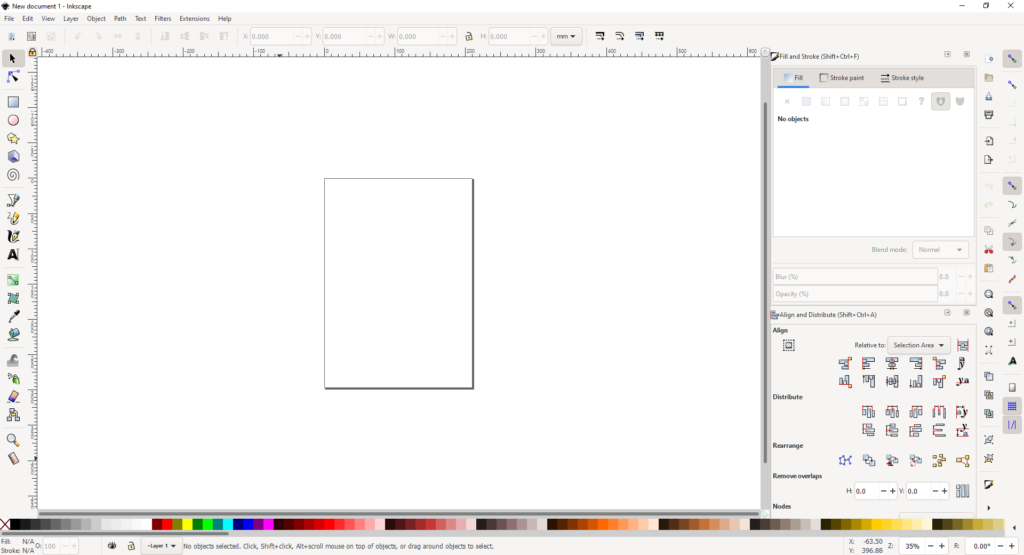 Inkscape first view when opening the application