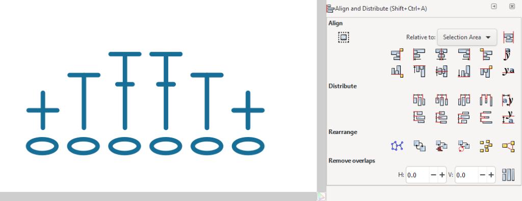 Several crochet symbols aligned in Inkscape