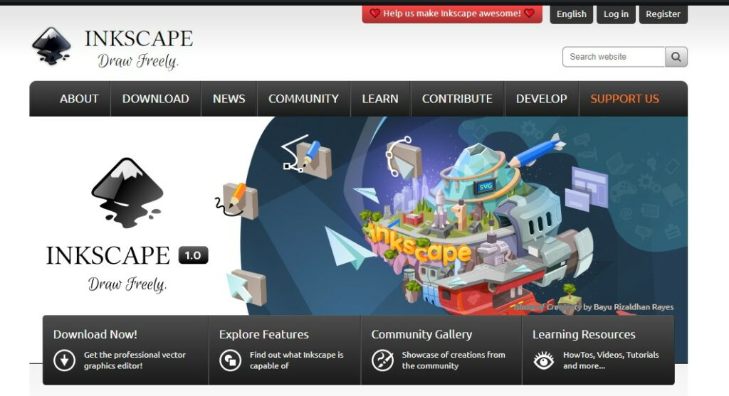 Inkscape homepage screenshot