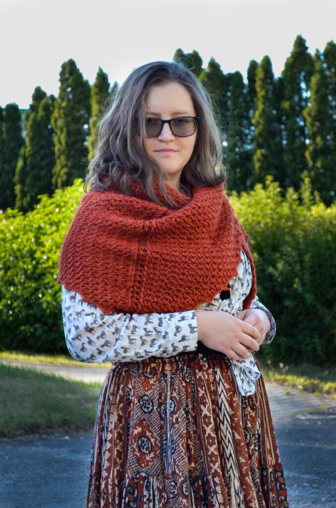Porphyry shawl Tunisian crochet pattern yarnandy 9