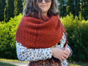 Porphyry shawl Tunisian crochet shawl being worn