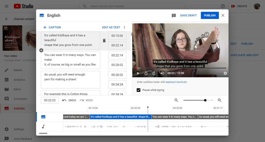 how to add youtube captions 5 after paragraphs