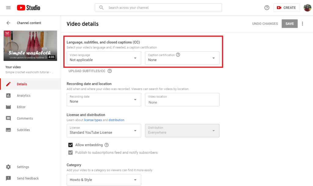 how to add youtube captions 6 select language