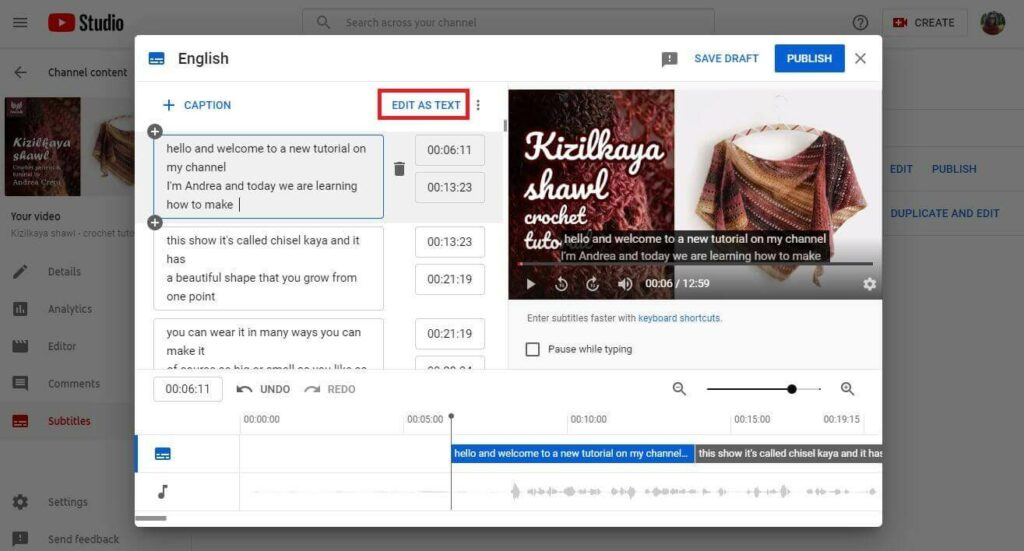 how to add youtube captions assign timings