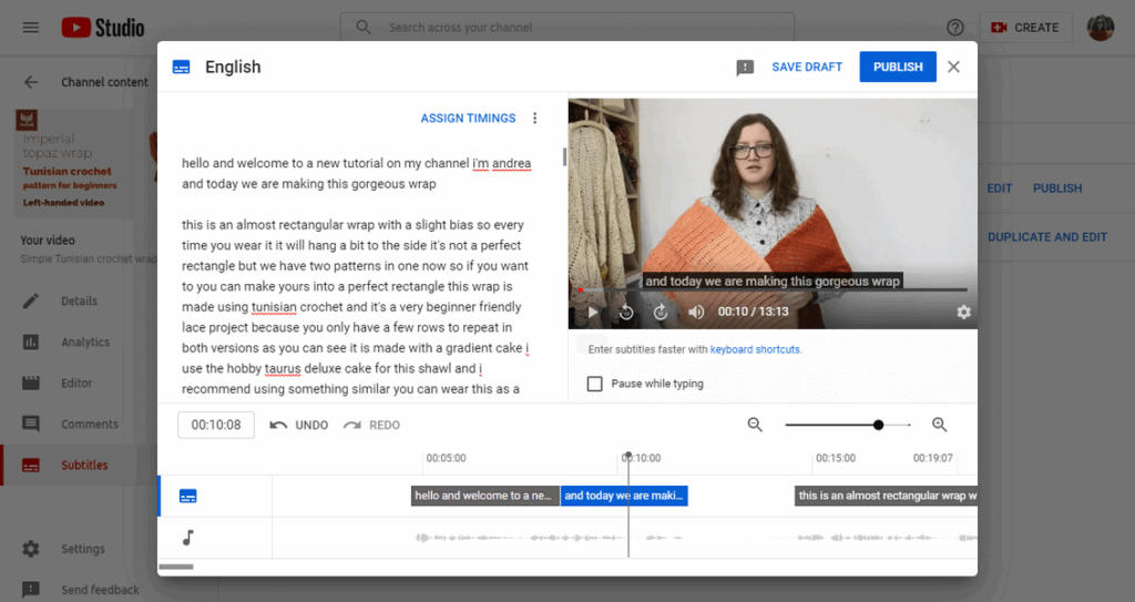 how to add youtube captions auto generated wall of text