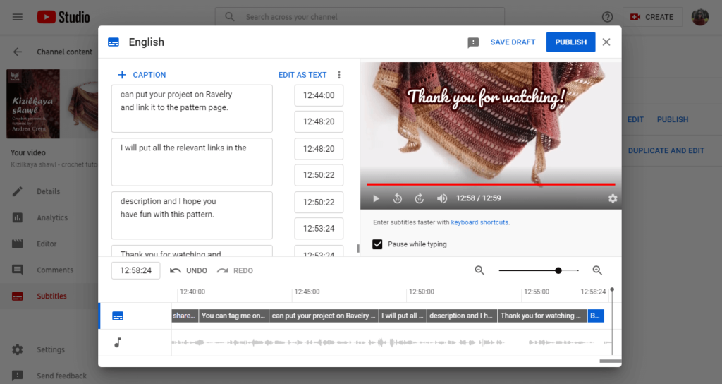 how to add youtube captions publish