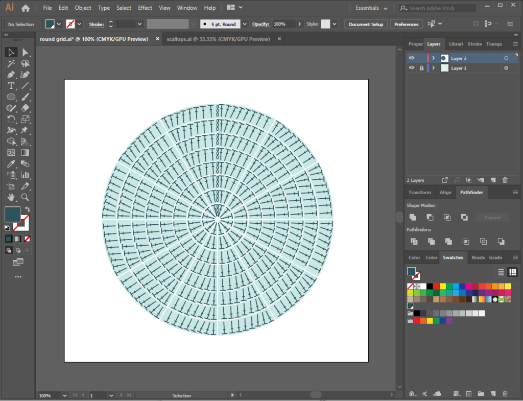 Using Adobe Illustrator for crochet charts - quick chart of a circle with 8 rows of Dc stitches