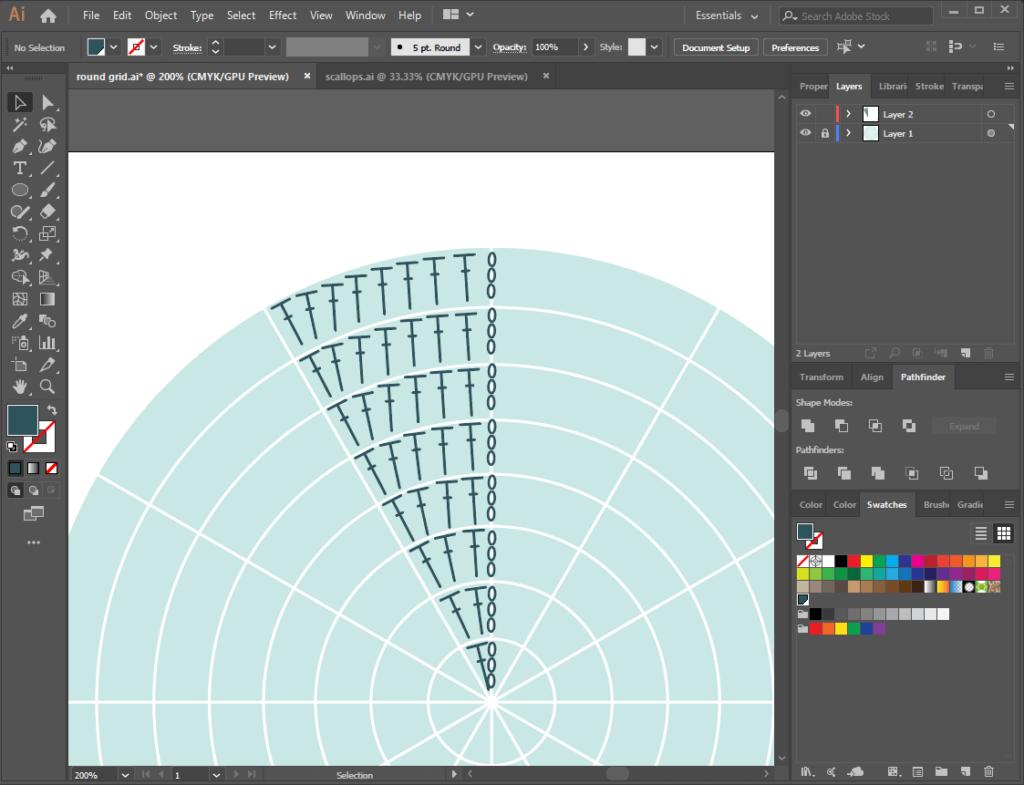 Illustrator wedge of stitches on round grid