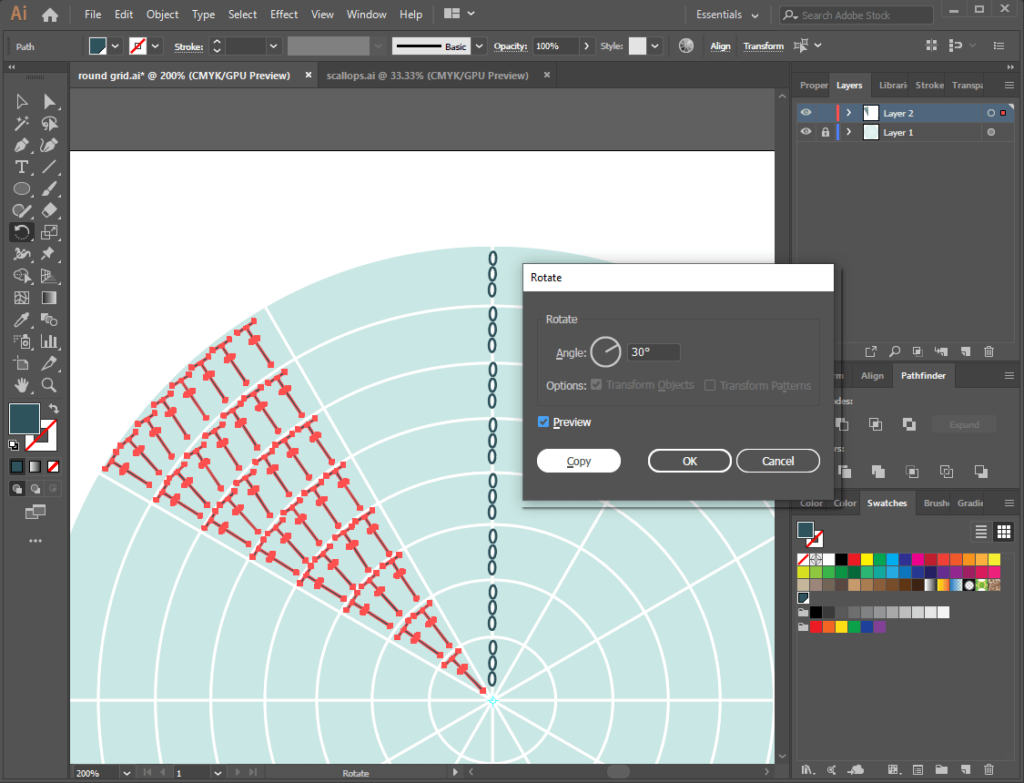 Illustrator wedge of stitches on round grid rotating