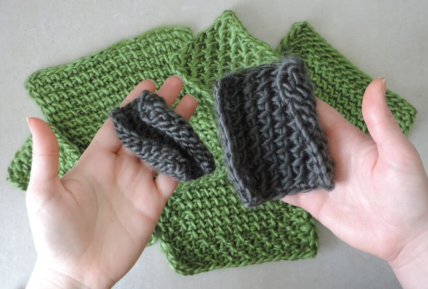 Reduce or remove tunisian crochet curling - why increasing hook size is not enough