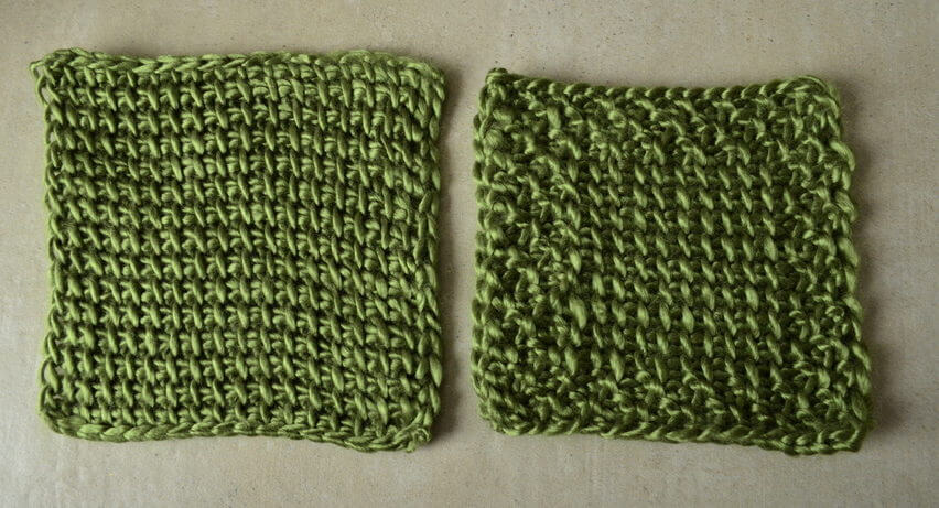 Reduce or remove Tunisian crochet curling by working a non-curly border as you go