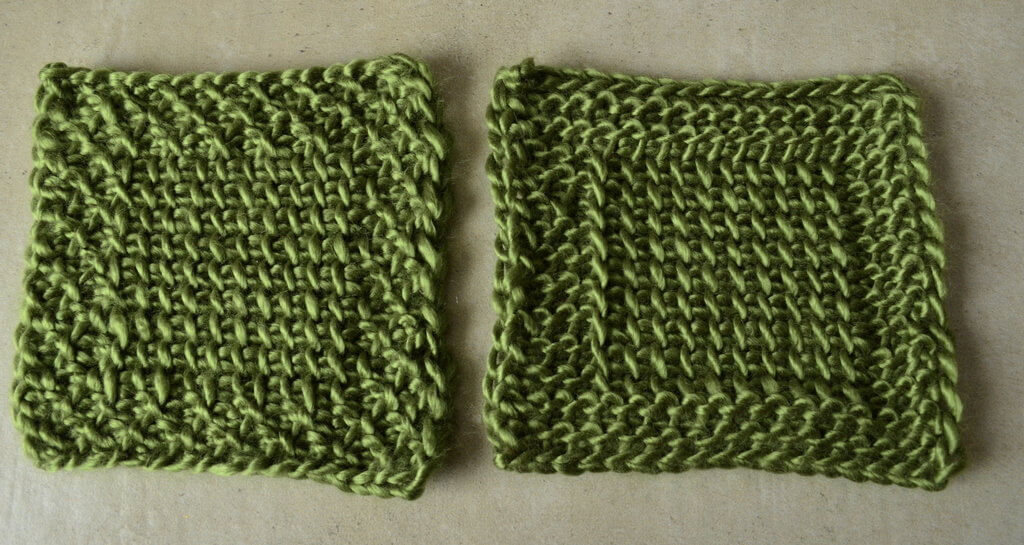 Reduce or remove Tunisian crochet curling by including a border in your project - pictured are two squares, one with a honeycomb border, one with a purl stitch border