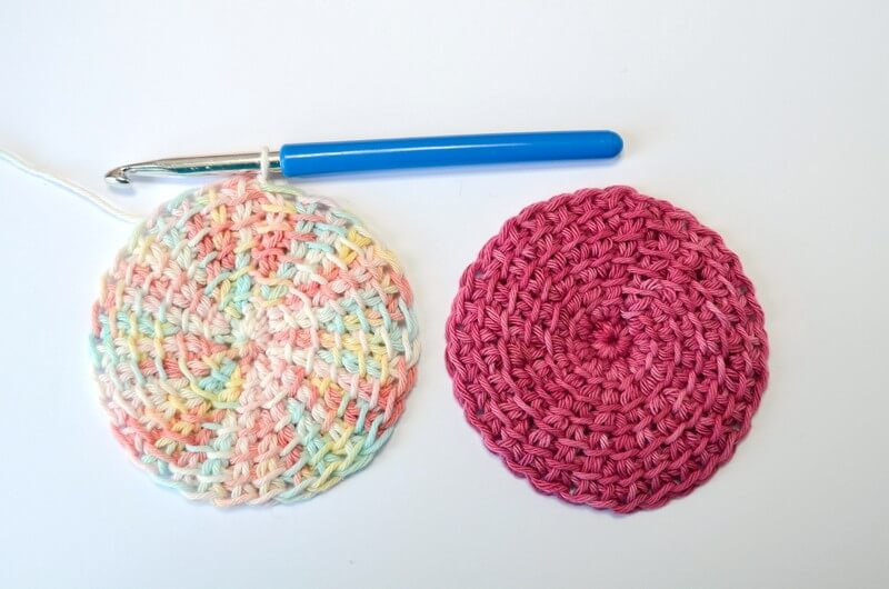Tunisian crochet face scrubbies two pieces ready to be sewn together