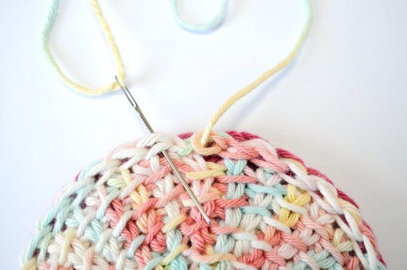 Tunisian crochet face scrubbies invisible join