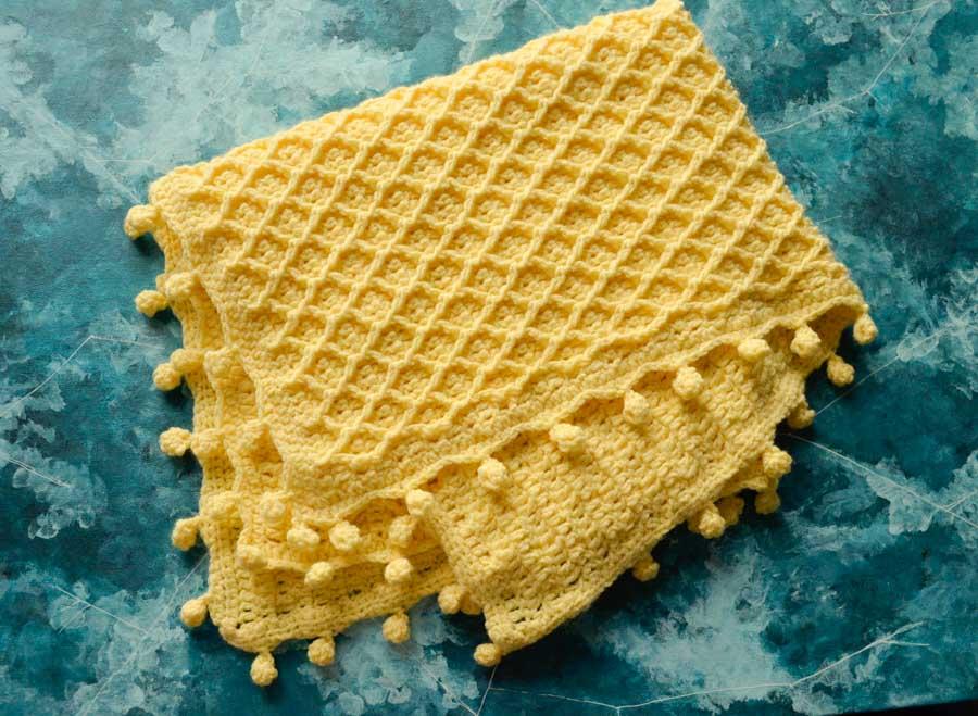 Honeycomb baby blanket crochet pattern 5