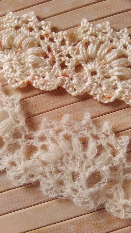 jasmine lace border crochet pattern in two different types of yarn - mohair and smooth acrylic