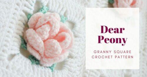 Dear Peony flower granny square cover