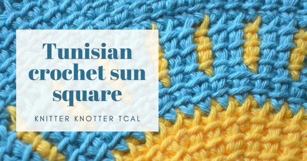Cover photo Tunisian crochet sun square