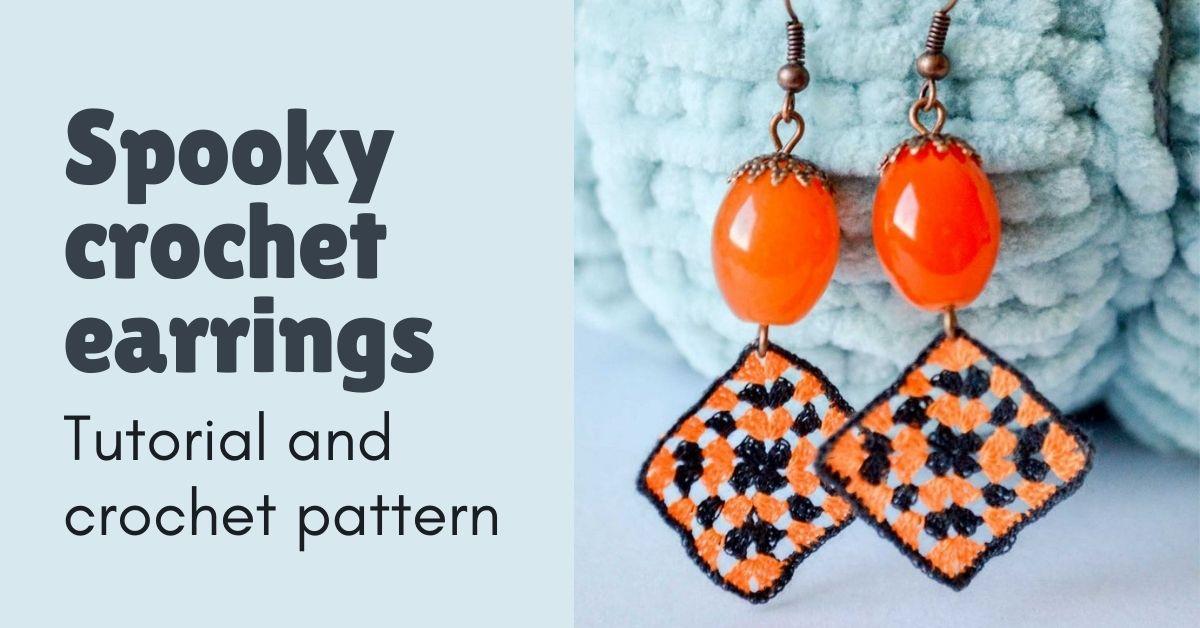 spooky crochet earrings featured