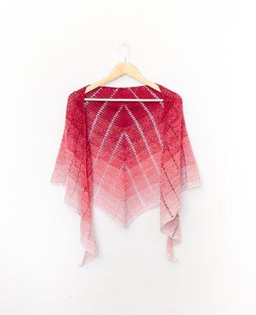 Raspberry croissant shawl